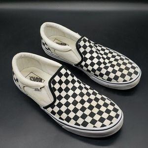 Checkered board slip on vans size 11